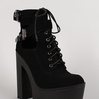 Wild Diva Lounge Nubuck Lace Up Platform Lug Sole Heel