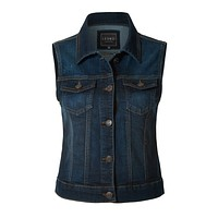 LE3NO Womens Fitted Washed Button Down Denim Vest Jacket with Chest Pockets