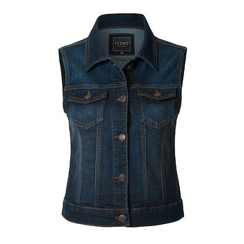 Fitted Washed Button Down Denim Vest Jacket with Chest Pockets