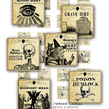 Antique Halloween Potion Labels 1x1 inch digital by magicpug
