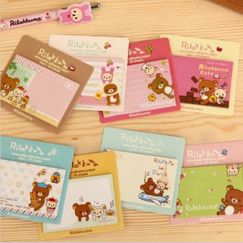 DIY Rilakkuma Vintage Memo Pad Sticky Note Kawaii post it Note for Kids Gift School Supplies Korean Stationery Free shipping 216