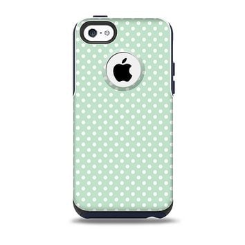 The Light Green with White Polkadots Skin for the iPhone 5c OtterBox Commuter Case