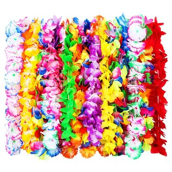24 Pieces Hawaiian Ruffled Silk Flower Leis Luau Floral Leis for Dress, Party Necklace and Beach, Assorted Colors