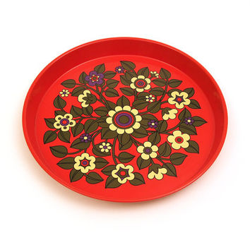 Lovely vintage red enamel serving tray. Retro flower pattern. Design: Pat Albeck - Worcester Ware. Made in Great Britain.