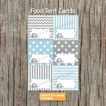 Food Tent Cards Elephant Baby Shower DiY Party Decorations Powder Blue Grey Birthday Party Buffet Labels diy INSTANT DOWNLOAD 004