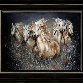 Wild Horses in Country-Black Frame - FREE US SHIPPING - The Symphony by Teshia