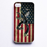 Browning Deer Camo American Flag Phone Case For iPhone Samsung iPod Sony