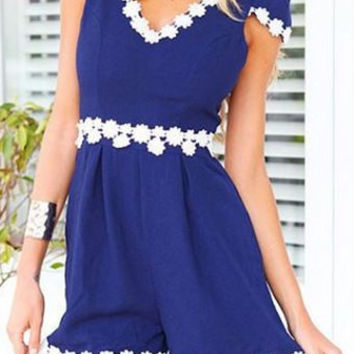 Blue V-Neck Short Sleeve Appliques Romper