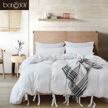 Cool Bonenjoy White Bedding Set King Luxury Cotton Hotel Bedding Sets Solid Bed Cover Queen Size Ties Duvet Cover Bedding KitAT_93_12