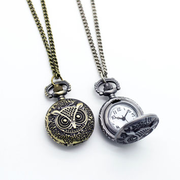 Owl locket pendant watch
