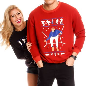 RED DRAKE 1800 HOTLINE BLING HIGH QUALITY LONG SLEEVE UGLY CHRISTMAS SWEATER