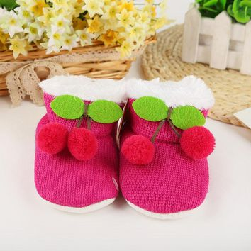 Knitted Winter Warm Baby Shoes Cute Cherry Baby Girls Boys First Walkers Soft Bottom N