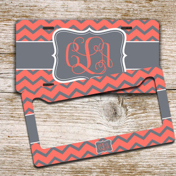 Monogrammed license plate or cover - Coral chevron, gray - monogram car tag, personalized car accessory bike license plate (9912)