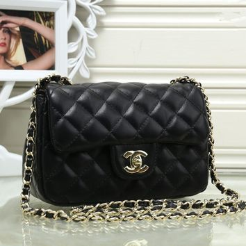 Chanel Women Simple Fashion Quilted Metal Chain Single Shoulder Messenger Bag