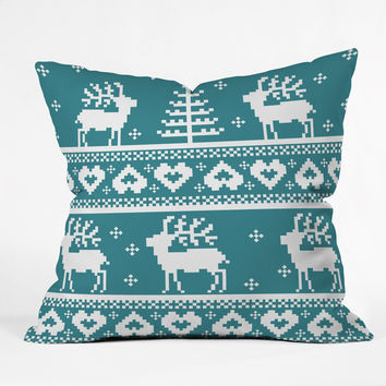 Natt Knitting Blue Deer Outdoor Throw Pillow