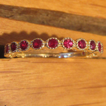 Anniversary Gift, Ruby Ring,Eternity Ring, Eternity Band, 14K Yellow Gold, 15 stones, Natural Ruby, July Birthstone
