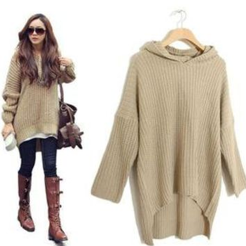 Korean Womens Loose Long Irregular Hem Hooded Sweater Fashion Outerwear