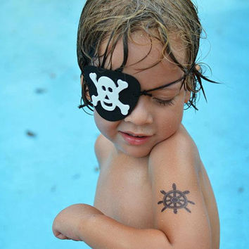 nautical party favours -24 temporary tattoos- anchor, paper boat, ships wheel