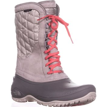 The North Face Thermoball Utility Quilted Winter Boots, Dove Grey/Calypso Coral, 10 US / 41 EU