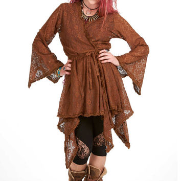 DRYAD FAE JACKET, brown lace boho wrap jacket, hippie hippy earth mama top xl, plus size pagan jacket top, faery elemental woodland wrap top