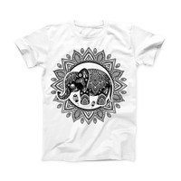 The Indian Mandala Elephant ink-Fuzed Front Spot Graphic Unisex Soft-Fitted Tee Shirt