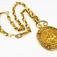 Chunky Heraldic Pendant, Squoval Link Chain, Signed Accessocraft, Egyptian Revival Round Soldier on Horse Coin, Vintage 1960s 1970s