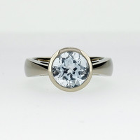 10% SALE size 7, White topaz ring, white gold, engagement ring, bezel, topaz engagement, topaz ring, solitaire engagement, unique, cathedral