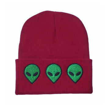 Alien Beanie Winter Warm Knitted Embroidered Wool Red Cuffed Skully Hat