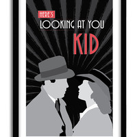 "Casablanca, Classic Movie Poster, romantic print, ""here's looking at you kid"", Casablanca Poster, A3 Poster"