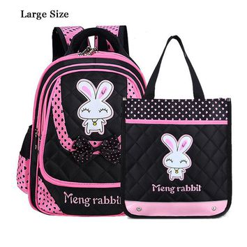 School Backpack GCWHFL 2 Bags Sets Children s For Girls Bags Nylon Cartoon Bunny Kids Backpack School Bag Little Girl Knapsack AT_48_3