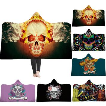 Hooded Blanket thickening double plush 3D digital printing hat carpet skull new 130x150cm Home Textile