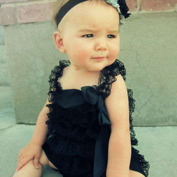 Lace Petti Romper Baby Black tattered shabby flower headband set Lace Romper baby shower birthday outfit Photo prop  0-3 3-6 6-12 12-18