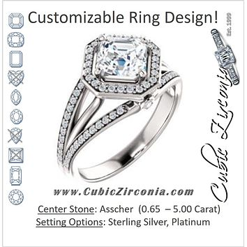 Cubic Zirconia Engagement Ring- The Hanna Jo (Customizable High-set Asscher Cut Design with Halo, Wide Tri-Split Pavé Band and Round Bezel Peekaboo Accents)