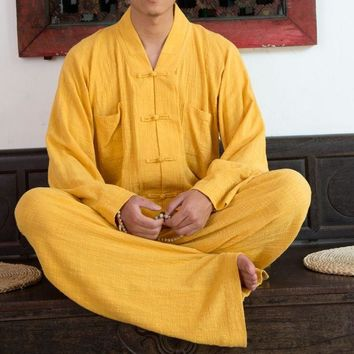 Unisex top quality Summer Cotton&linen martial arts clothing sets  buddhism zen monk suits lay meditation uniforms yellow