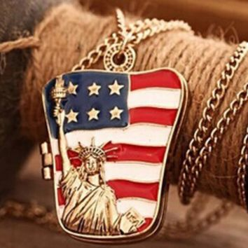 The Patriot American Flag Statue of Liberty Locket Necklace