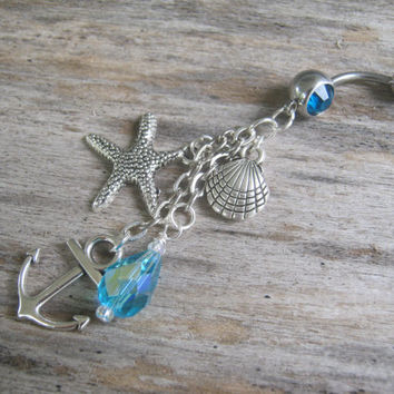 Anchor Belly Ring, Nautical Belly Button Ring, Starfish Navel Piercing, Seashell, Beach, Body Jewelry, Personalized Birthstone Belly Ring