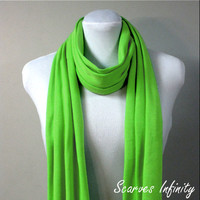 """Lime Green  Infinity Scarf in Soft Jersey  Knit  - Long Modern Circle Scarves - 7"""" W  X  72"""" L"""