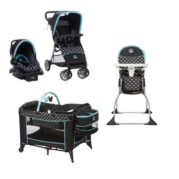 Disney Mickey Mouse Baby Gear Bundle,Stroller Travel System,Play Yard,High Chair