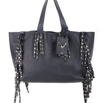 VALENTINO C-Rockee Studded Fringe Leather Tote Bag