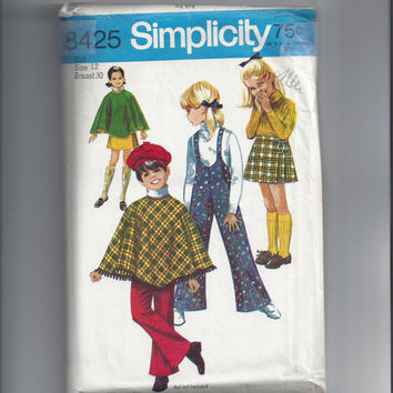 Simplicity 8425 Pattern for Girls' Poncho or Cape, Skirt, and Bell Bottom Suspender Pants, Size 10 or 12, From 1969
