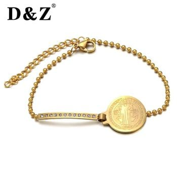 D&Z Religious Jesus Bracelet Gold Color Stainless Steel Crystal Patron Saint Benedict Bangles Bracelets for Women Jewelry Gift