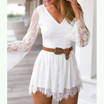 V-neck embroidery lace Jumpsuits