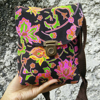 Tribal Tropical Shoulder Toiletry Bag Cross body Neon Festival Bag Purse Travel Folk Style Phone Hippies Ethnic Pouch Bohemian Hobo in Pink
