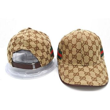 GUCCI Stylish Ladies Men Embroidery Stripe Print Sports Sun Hat Baseball Cap Hat