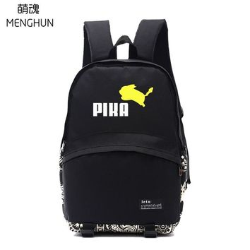 Anime Backpack School Lovely jumping Pikachu school bags Pikachu lovely backpacks POKEMON concept daily wear backpacks kawaii cute game fans gift NB251 AT_60_4