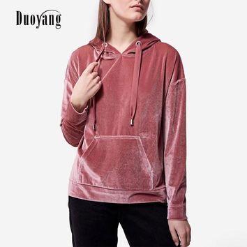 2018 autumn winter women sweatshirts long sleeve hoody solid fashion hoodie female pullover O-Neck velour sweatshirts women
