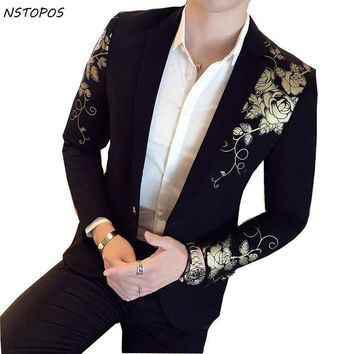 Gold Black Blazer Flower Gold Print Party Wedding Festival Stylish Blazers For Men Stage Costumes For Singers Slim Fit  Blazer