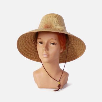 Vintage 60s NOVELTY Sun HAT / 1960s Woven Straw Wide Brim Hat with Little Brooms