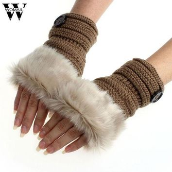 VOND4H Winter Knitted Faux Fur Fingerless Gloves