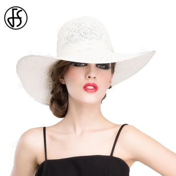 FS Spring Summer Straw Hats For Women Large Wide Brim Floppy Sun Hat Fashion White Ladies Beach Travel Girls Cap Gorra Plana